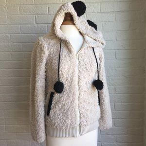 Furry panda zip up hoodie